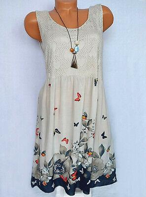 Sommerkleid Freizeit Strandkleid mit Häkelspitze Rosa Blumen Knielang 38 40 42