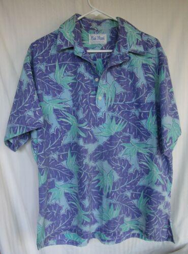 Men XL Hawaiian Shirt 4 Button Pull Over Split Sides Reverse Pattern