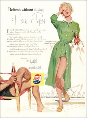 1955 soft drink beverage AD PEPSI COLA  art Blonde in beach clothes 093020