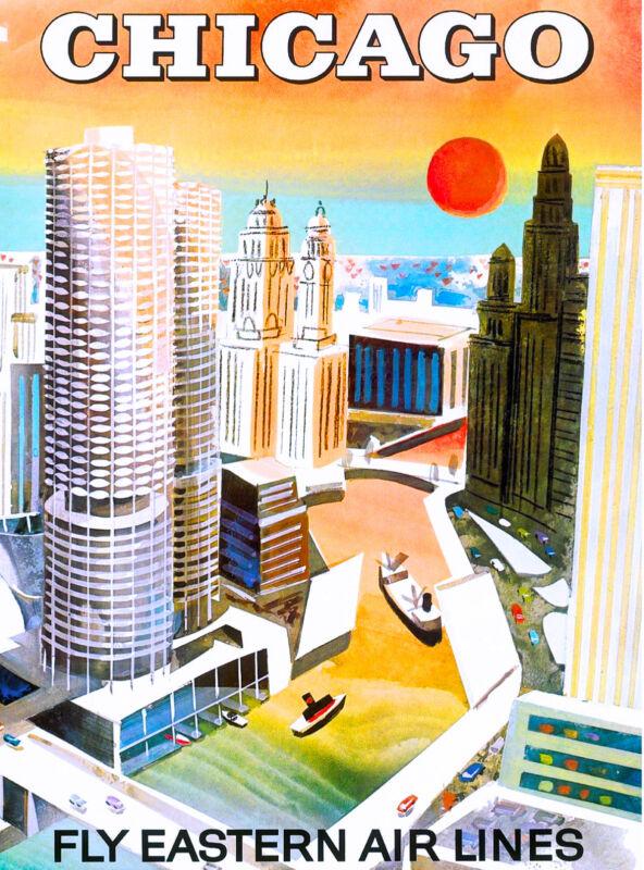 Chicago Illinois Vintage United States America Travel Advertisement Art Poster