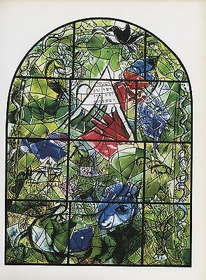 """1988 Vintage MARC CHAGALL """"ISSACHAR"""" FINISHED WINDOW COLOR Art Print Lithograph"""