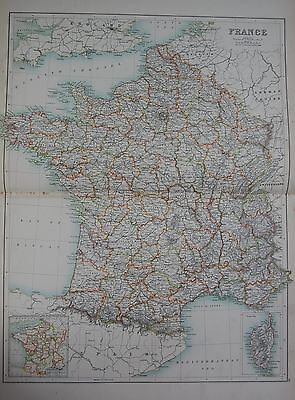 1897 FRANCE WITH CORSICA LARGE MAP