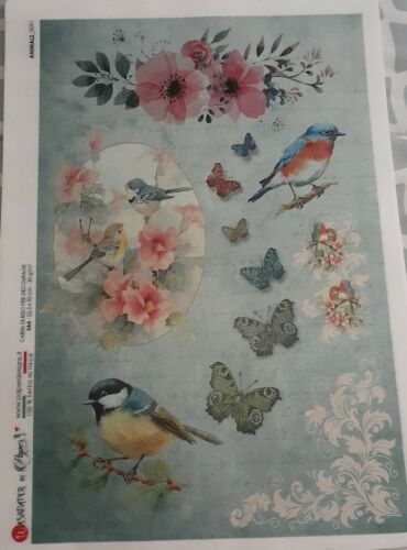 1 A4 Page of RICE PAPER for Decoupage or Scrapbooking from Italy