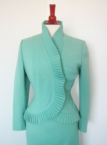 Vintage 1950s Lilli Ann Suit / Aqua Wool Jacket and Skirt / Hourglass Silhouette