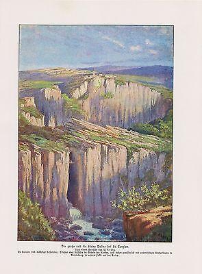 Höhlen von Škocjan Doline St.Kanzian nach Gemälde  Farbdruck von 1912