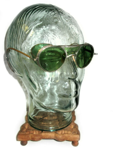Antique Busch and Lomb Green Goggles Safety Glasses Vtg Old Cool Pre RayBan BL