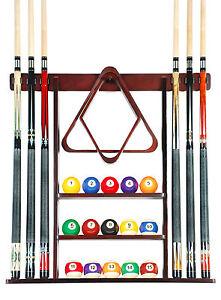 Cue Rack Only- 6 Pool Billiard Stick Wall Rack Holder Mahogany Scratch +  Dent