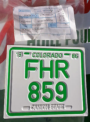 N.O.S plaque d'immatriculation PEUGEOT HPL CHOPPER HP HP2 mobylette N.O.S
