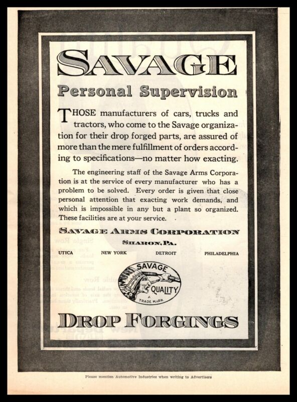 1919 Savage Arms Drop Forgings Sharon Pennsylvania Utica New York Print Ad