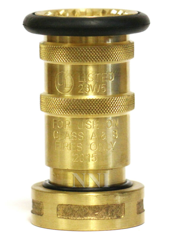 """NNI 1-1/2"""" NST (NH) Fire Hose Brass Bronze Fog Nozzle UL Listed Fire Protection"""