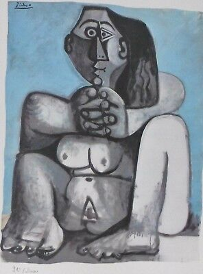 "PABLO PICASSO "" sitting Nude "" plate signed HAND NUMBERED LITHOGRAPH gouache for sale  San Diego"