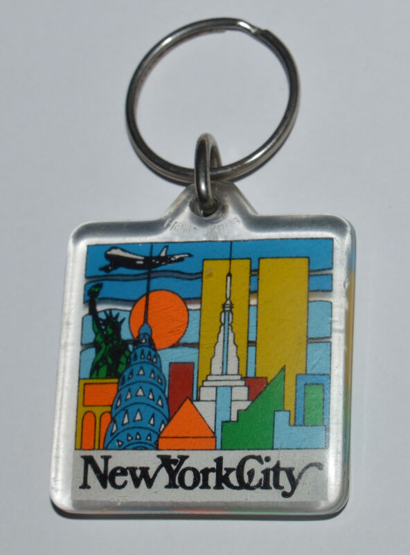 NEW YORK old key chain ring Empire State Building Twin Towers Statue of Liberty