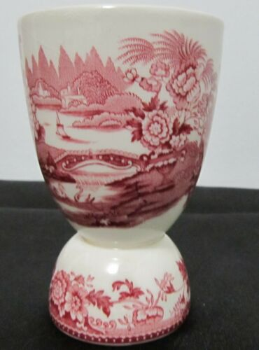 TransferWare ENGLISH SCENERY Red Pink Egg Cup England Abbey Flowers Boats Bridge