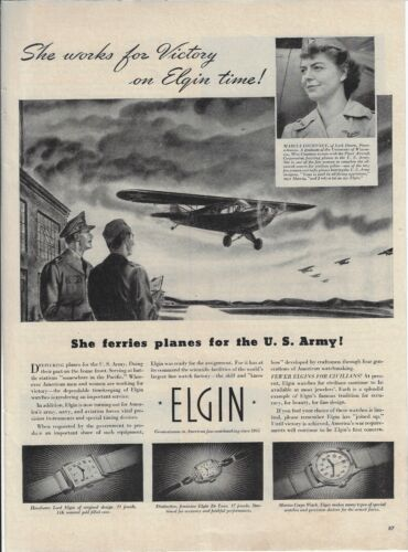 1942 Lockhaven PA Marcia Courtney Ferries Plane For US Army Elgin Watch Ad