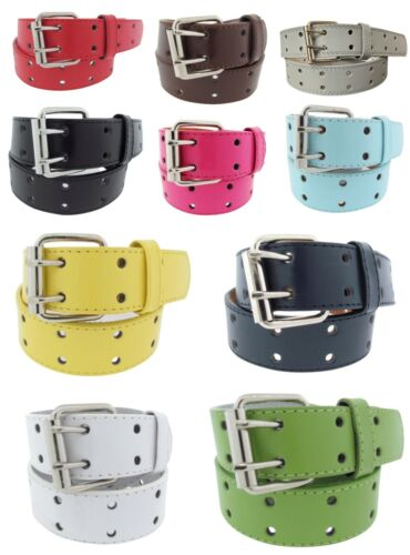 Genuine Leather Belt Unisex Double Row Closure Colorful Styles Silver Buckle 1.5