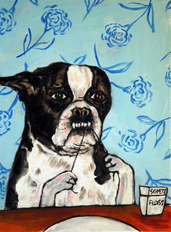 boston terrier bathroom flossing  art print 8.5x11 dog artwork