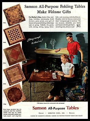 1947 Samson All-Purpose Tables Chess Board Card Game Table Vintage Print Ad