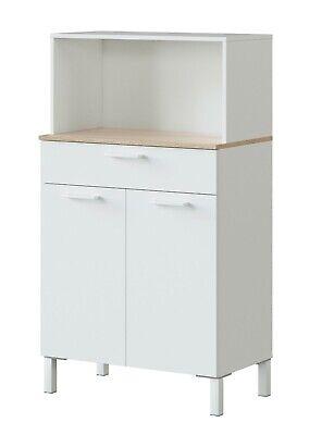 Mueble auxiliar cocina microondas 2 puertas cajón moderno Yuka blanco 126x72x40
