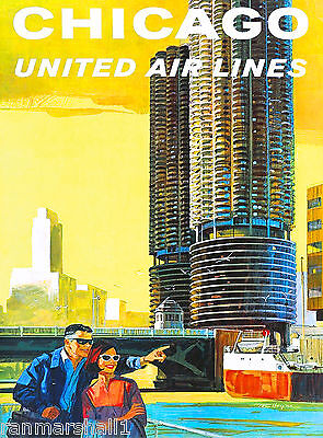 Chicago Illinois Vintage Air  United States America Travel Advertisement Poster