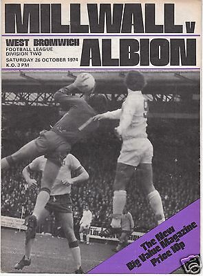 MILLWALL V WEST BROMWICH ALBION  DIVISION TWO  26/10/74
