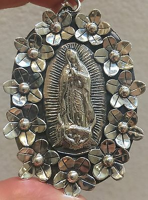 Large Mexican Sterling Silver Our Lady Of Guadalupe Pendant