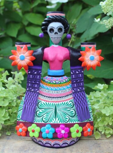 Lg Frida Kahlo Day of the Dead Candlestick Handmade Hand Painted Mexico Folk Art