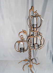 Yankee-Candle-Autumn-Metal-PUMPKIN-TREE-Large-Triple-Tea-Light-Holder