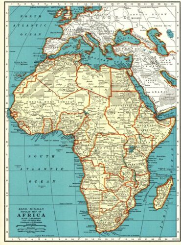 1939 Antique AFRICA MAP Vintage Collectible Map of Africa Gallery Wall Art 8758