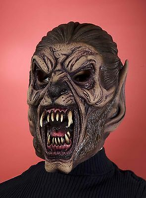 Latex Werewolf Mask Mens Adult Vinyl Halloween Face Were Wolf Costume Brown - Brown Wolf Mask