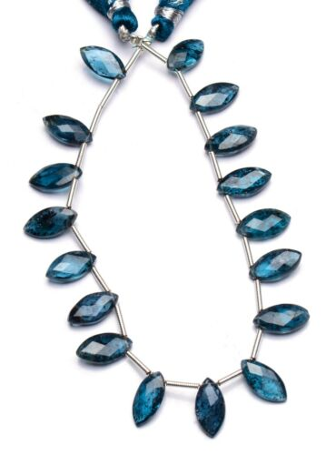 """Imperial Kyanite Natural Gem 12x6mm Size Faceted Marquise Shape Beads 8"""" 49Cts."""