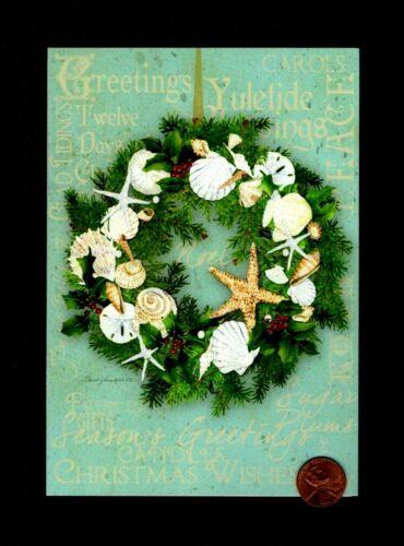 CHRISTMAS Wreath Seashells Starfish Beachy GLITTERED Greeting Card - W/ TRACKING