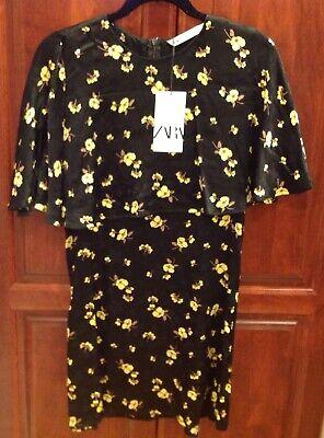 NWT Zara Black Floral Print Mini dress Short Cape Sleeves NWT 9479/240/800 SZ XS