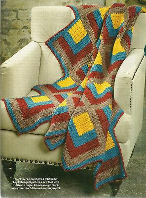 Cascading Quilt Blocks Afghan Crochet Pattern from magazine Log Cabin on point c ()