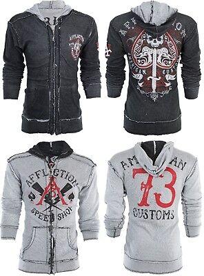 AFFLICTION Men Hoodie Sweat Shirt ZIP UP Jacket REVERSIBLE Death Spade UFC $98 Reversible Sweatshirt