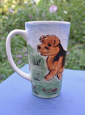 Norfolk terrier . Handpainted ceramic mug  . OOAK .LOOK!