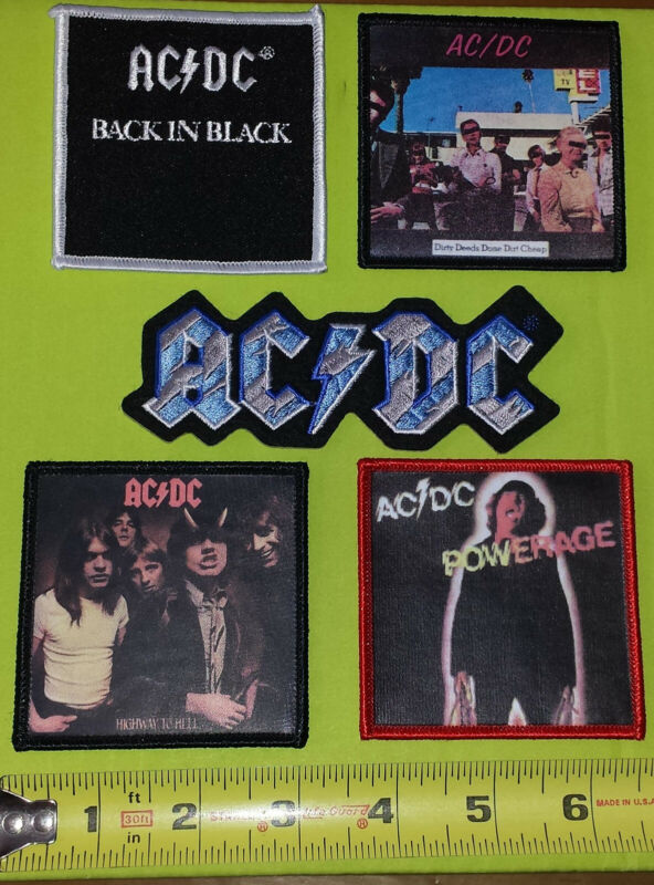 5 AC/DC ACDC ANGUS YOUNG BACK IN BLACK HIGHWAY TO HELL MUSIC ALBUM PATCH LOT