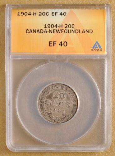 1904 H Canada Newfoundland Silver 20 Cents ANACS EF 40