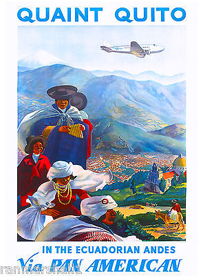 Ecuador Ecuadorian Andes Vintage South America Travel Advertisement Art Poster