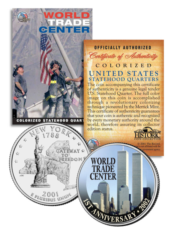 WORLD TRADE CENTER * 1st Anniversary * 9/11 New York State Quarter U.S. Coin WTC