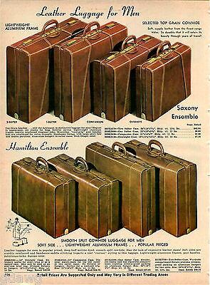 1967 ADVERT Hamilton Leather Luggage Sets Saxony Ensemble Cowhide (Cowhide Leather Luggage Set)
