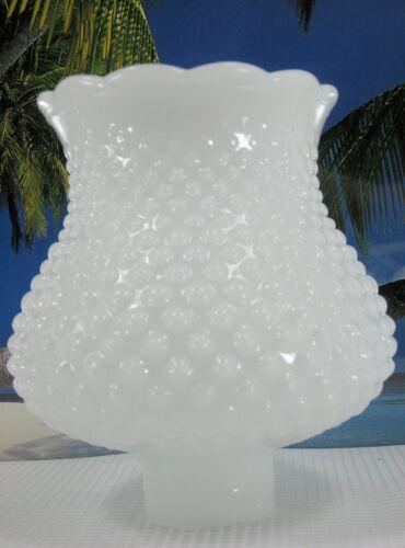 OLD SHORT HOBNAIL WHITE MILK GLASS CHIMNEY FOR OIL KEROSENE OR ELECTRIC LAMPS