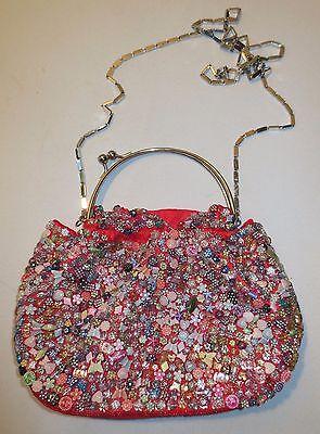 Beaded handbag Shoulder handbag Flowers Butterflies Hearts Evening Club NWOT