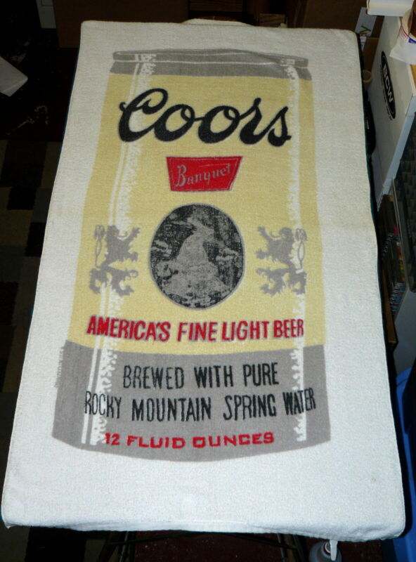 """Vintage : COORS """"Beer Can"""" BEACH TOWEL by FRANCO @ circa 1970s/80s"""