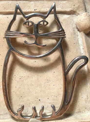 happy sweet cat kitten kittie signed pin/brooch navajo diné artist belinda woody