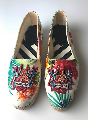 Christian Louboutin White Mom and Dad Flat Toile Hawaii Espadrilles Euro 37