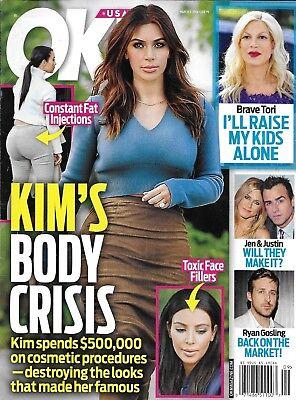 Ok Magazine Kim Kardashian Tori Spelling Jennifer Aniston Justin Theroux