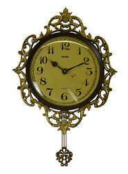 Brown & Gold Wall Clock w/Pendulum Victorian Baroque Style Carvings