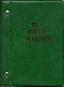 VST AUSTRALIAN 50c COIN ALBUM for 50c COLLECTION 1966 to date. MINTAGES PRINTED