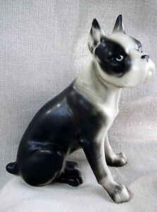 Beautiful-Boston-Terrier-Porcelain-Dog-Figurine-Fine-Vintage-Japanese