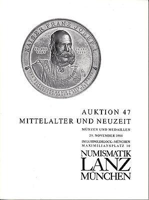 LANZ Auktionskatalog 47  Neuzeit Mittelalter Karolinger Personenmedaillen  ?047